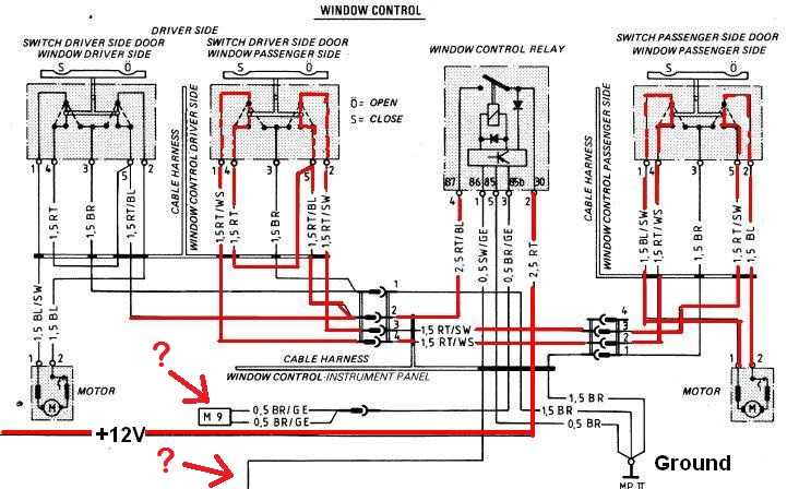 Schema Elettrico Jaguar Type : Schema elettrico pulsante alzacristalli porschemania